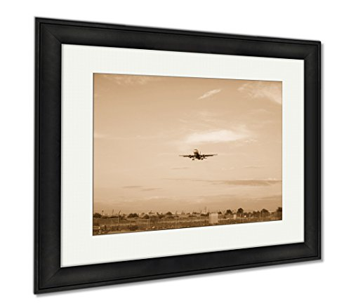 Ashley Framed Prints Plane Landing With Sun Setting, Wall Art Home Decoration, Sepia, 26x30 (frame size), Black Frame, - Airport Sky Shops Harbor
