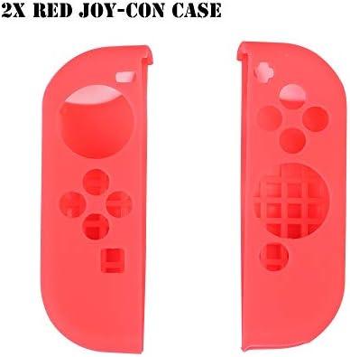 HTBG 任天堂スイッチゲームアクセサリー用シリコーン滑り止め保護スキンケースカバーグリップジョイスティックキャップシェルラップコンソールバンパー (Color : 2X Red Joy con Case)