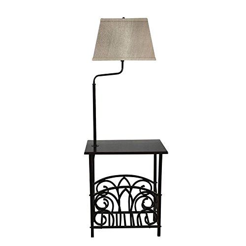 Portfolio 54-in Bronze 3-Way Shelf Built-in Table Floor Lamp with Fabric Shade