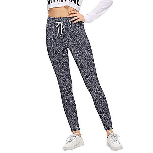 Women Leggings Trousers Yoga Sport Skinny Pocket Elastic Waist Drawstring Pants]()