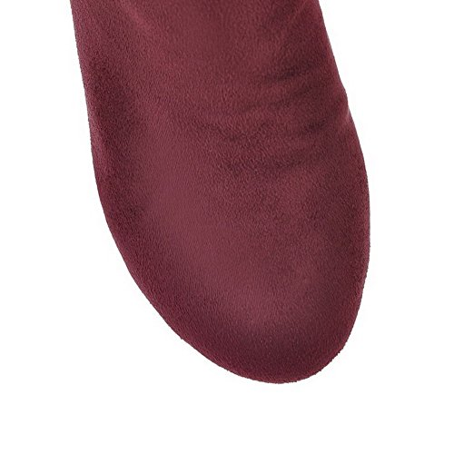 with and 6 Boots Solid AmoonyFashion Metalornament PU US Closed Toe M Frost Claret Wege High 5 Heels PU B Womens Round xvOazqwPv