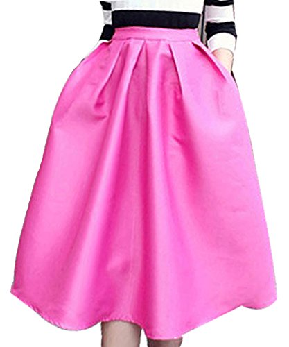 FACE N FACE Women's High Waisted A Line Street Skirt Skater Pleated Full Midi Skirt X-Small Rose Red]()