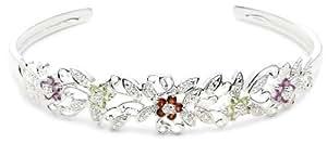Sterling Silver Amethyst, Garnet and Peridot Flower Cuff Bracelet