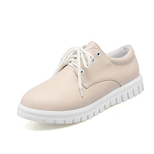 BalaMasa Womens Round-Toe Urethane Flats Shoes Beige uYoNBzaVE