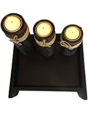 Set of 3 Tea Candle Holder Pillar with Jute Wrap Decor