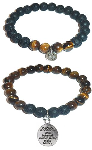 Hidden Hollow Beads Charm Tigers Eye and Black Lava Natural Stone Women's Yoga Beaded Stretch Bracelet Set. COMES IN A GIFT BOX! (Well Behaved Women Rarely Make History)