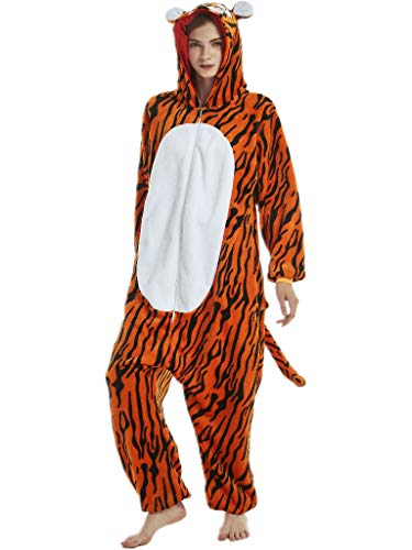 (Adult Onesies for Women Men Teens Girls Tiger Costumes Pajama Animal Piece)