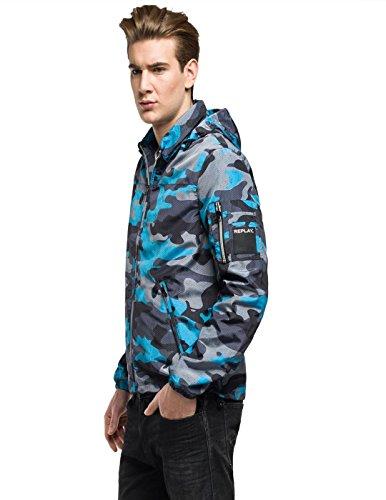 Azul Azul Camuflaje Estampado Nylon Cazadora REPLAY wqS0Ag6
