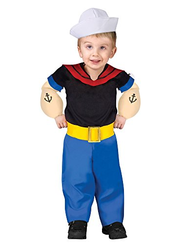 Fun World Boys Popeye Toddler Costume, Multicolor, 24 Months-2T (Small)