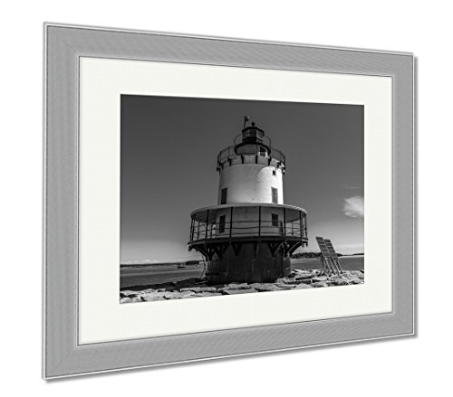 Ashley Framed Prints Spring Point Ledge Light Is A Sparkplug Lighthouse In South Portland Maine That, Wall Art Home Decoration, Black/White, 34x40 (frame size), Silver Frame, - Frame Shop Portland South Maine