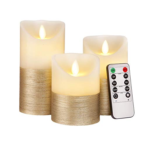 FLAMELESS Candles Flickering LED Battery Operated Electric Pillar Candle with Realistic Flicker Moving Flame with Remote Control & Timer, Real Wax Gold Trim Decorative Home Decor Gift for Women & Men ()