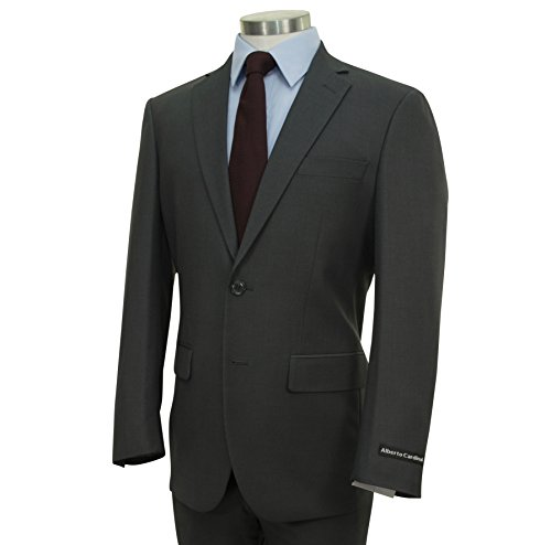 Alberto Cardinali Men's Solid 2 Button Single Breasted Slim-Fit Suit New [Color Charcoal Gray | Size: 44 Regular/38 Waist]