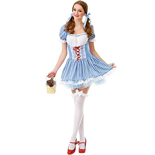 Lion From The Wizard Of Oz Costumes (Kansas Belle Women's Halloween Costume Sexy Dorothy of Oz Blue Checkered Dress Large)
