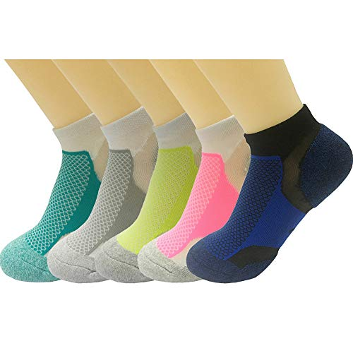 - 5 Pack Women's Low Cut No Show Athletic Socks High Performance Running Cushion Sports Sock Size 6-10 (Color 1)