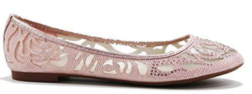Bella Marie Kvinnor Glitter Och Mesh Detalj Halka På Ballet Flats (champagne) Ubk81a_pink