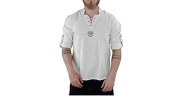 Camiseta de Hombre Color s/ólido Tops de algod/ón y Lino Camisas de Verano Moda Casual De Manga Larga Playa Camiseta Casual Suelto Blusa Camisa de Hombre Men Shirt Nueva Mejor Venta Secci/ón Delgada