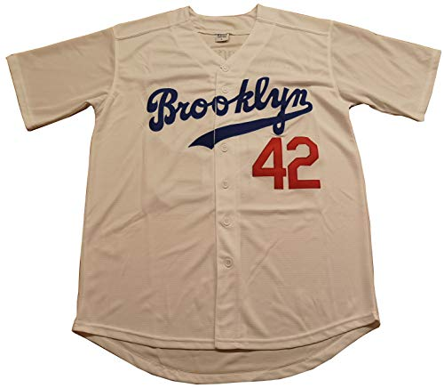 (Kooy Robinson #42 Brooklyn Dodgers Baseball Jersey Men Throwback Summer Christmas (White, 2XL))