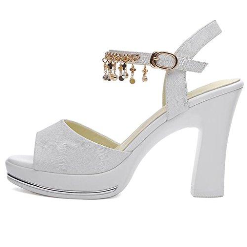 Vamp Talon Strass Talons Plate PU Été De Imperméable Poisson Forme Blanc Chaussures Ms Sandales De Épais Bouche Supérieur Hauts qAZ5OO