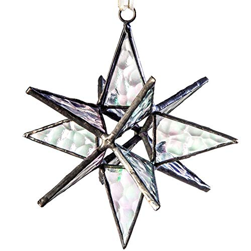J Devlin ORN 252 Clear Iridized Glass Moravian Star Ornament or Window Ornament Dimensional Star Christmas Ornament 4 1/2 x 4 1/2]()