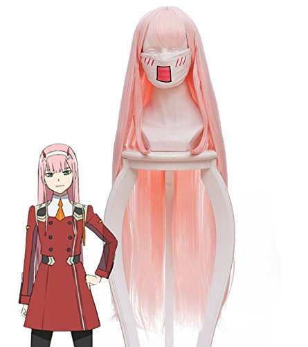 DARLING in the FRANXX ZERO TWO Code 002 Cosplay Wig Cosplay Costume Pink Hair]()