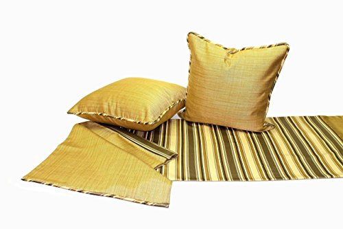 Khaki and Gold Stripe Luxury Bed Scarf, King or Queen Size Bed, Designer Bedding with Two Large Pillows, Inserts Included by Fabrinique