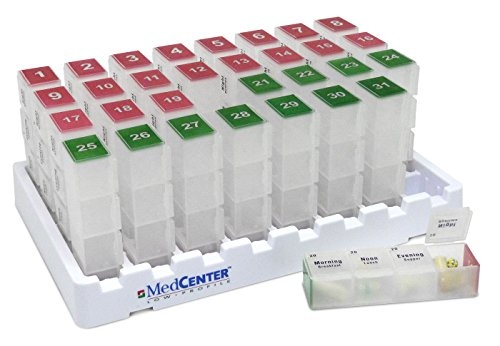 (Monthly Medication Organizer For Drawer or Lock Box With 31 Pill Boxes by MedCenter )