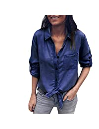 kingf Womens Solid Denim Shirt Cuffed Sleeve Knot Front Top Button Pocket Blouse