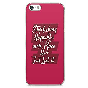 iPhone 5S Transparent Edge Phone case Happiness Phone Case Inspiration Phone Case Quote iPhone 5 Case with Transparent Frame