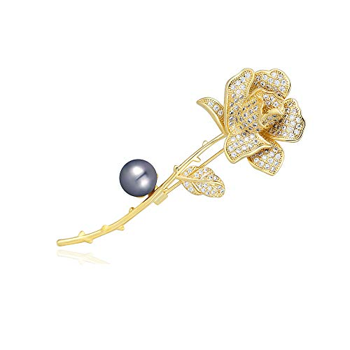 M&D Jewelry18k Gold Rose Flower Women's Brooch Pin Paved with Cubic Zirconia Pearl (Black Shell Pearl)