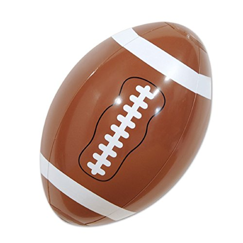 Club Pack of 12 Brown and White Inflatable Football Superbowl Party Decorations 9