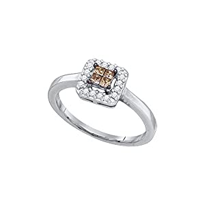 Size 11 - 10k White Gold Princess Chocolate Brown Diamond Square Cluster Halo Ring (1/4 Cttw)