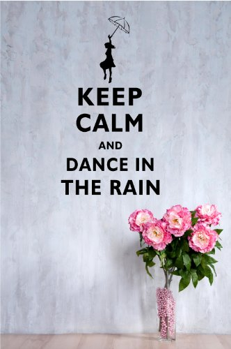 Keep Calm and Dance in the Rain 22x12 Inches Symbol Matte Black Vinyl Silhouette Keypad Track Pad Decal Window Wall Quotes Sayings Art Vinyl Decal (Keep Calm And Dance In The Rain)