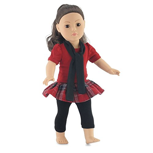 18 Inch Doll Plaid Skirt & Leggings Outfit | Fits 18