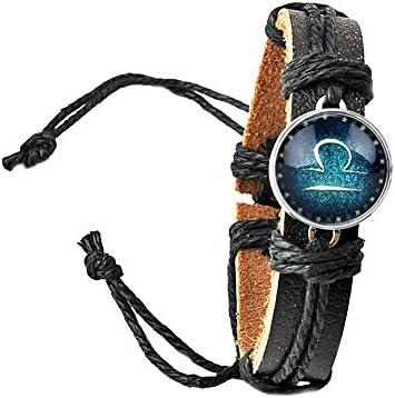 ユニセックス ジュエリー アクセサリー お守り 12星座 ブラック 蓄光 レザー 編組 ブレスレット 腕輪 プレゼント (天秤座
