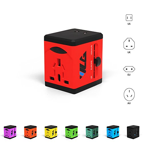 #1 Rated Travel Adapter and Charger - USB Charging Ports - Super Fast Charging - All International Standard Cell Phone/Desktop/Laptop/Touch Screen Tablet/Computer/GPS Chargers - Candy - Cards Australia Gift Electronic