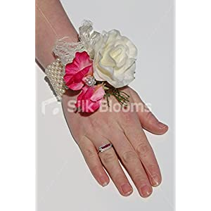 Ivory Real Touch Rose Wedding Wrist Corsage w/ Pink Sweetpea 77