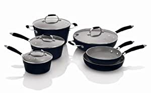 Fagor Michelle B. 10-Piece Induction Ready Forged Aluminum Cookware Set, Black