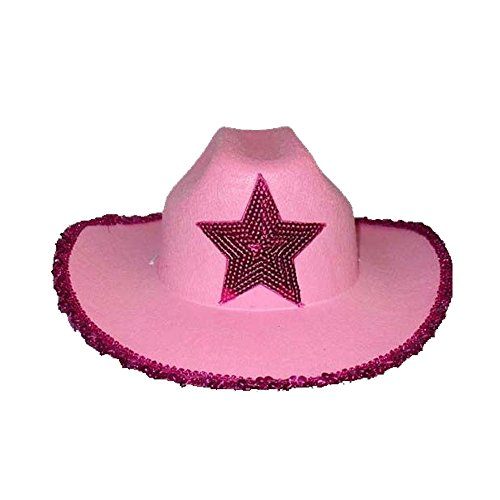 Cowgirl Hats W/ Hot Pink Sequined Star - Youth Size Pink Color ( CowBG38K Z)