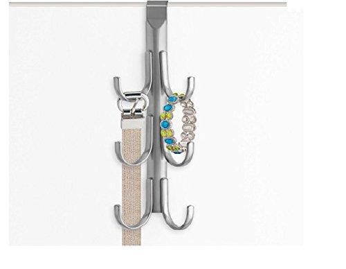 Lynk Over Door Accessory Hanger, Scarf, Belt, Hat, Jewelry Organizer, Vertical 6 Hook Rack, Platinum (Set of 2)