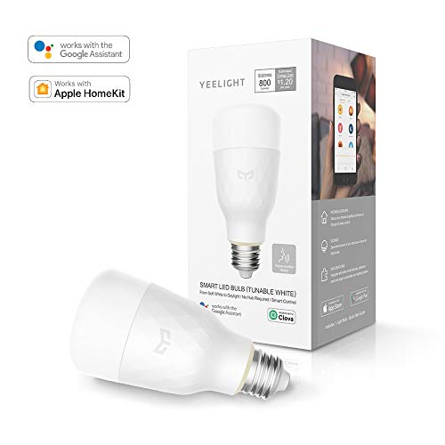 Yeelight Smart WiFi Light Bulb, Dimmable and Tunable White Light Bulb, Compatible with Alexa & Homekit and Google Home Assistant, No Hub Required, Voice Control Smart Home Device, A19 Smart LED Bulbs