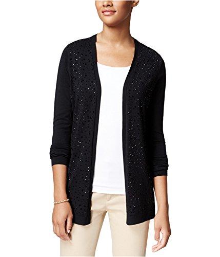 (Charter Club Womens Embellished Cardigan Sweater Black PM - Petite)