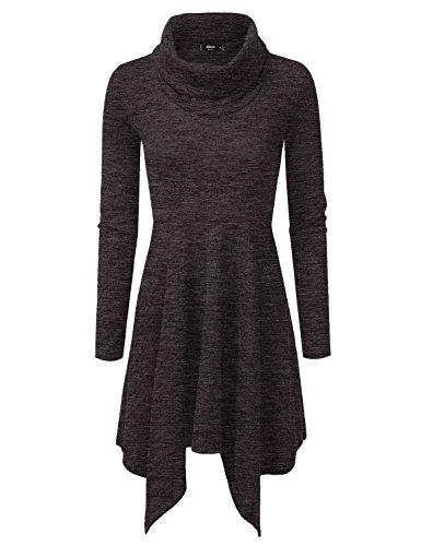NINEXIS Women's Heathered Cowl Neck Handkerchief Hem Sweater Dress CHARCOAL L