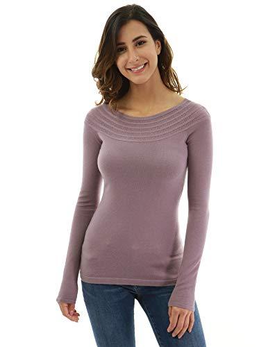 (PattyBoutik Women Boatneck Raglan Long Sleeve Sweater (Grayish Raspberry Large))