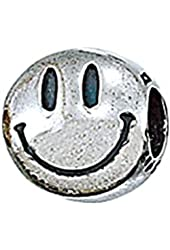 Genuine Zable (TM) Product. 925 Sterling Silver Smiley Face Bead Charm. 100% Satisfaction Guaranteed.