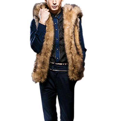 chaqueta de chaleco, Vovotrade Chaqueta de chaleco de piel sintética para hombre sin mangas Marrón