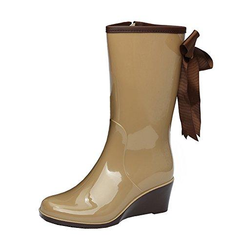 JESSI apricot Rain Waterproof Boots Mid MAIERNISI Stylish Women's Calf Bowknot Wedge ZwxT8dqg