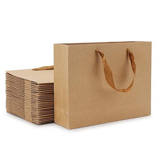 Kraft Portable Paper Bags, Eusoar 25pcs Brown Kraft Paper Gift Bags with Handles, Kraft Bags, Party Bags, Retail Bags, Merchandise Bag, Wedding Party Bag