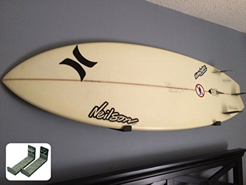Naked Surf | Minimalist Surfboard Wall Rack | Black Display Rack | StoreYourBoard