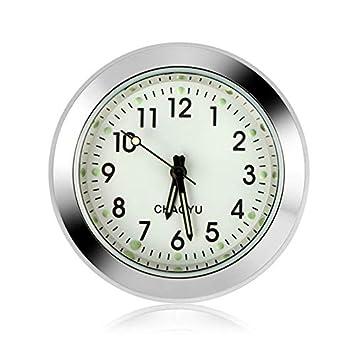 Reloj del coche Reloj digital para automóvil Tablero del coche Reloj pequeño y redondo Reloj de cuarzo analógico Reloj para adornos de coche (Blanco): ...