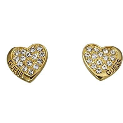 Guess Desert Beauty Gold Tone Crystal Set Heart Stud Earrings